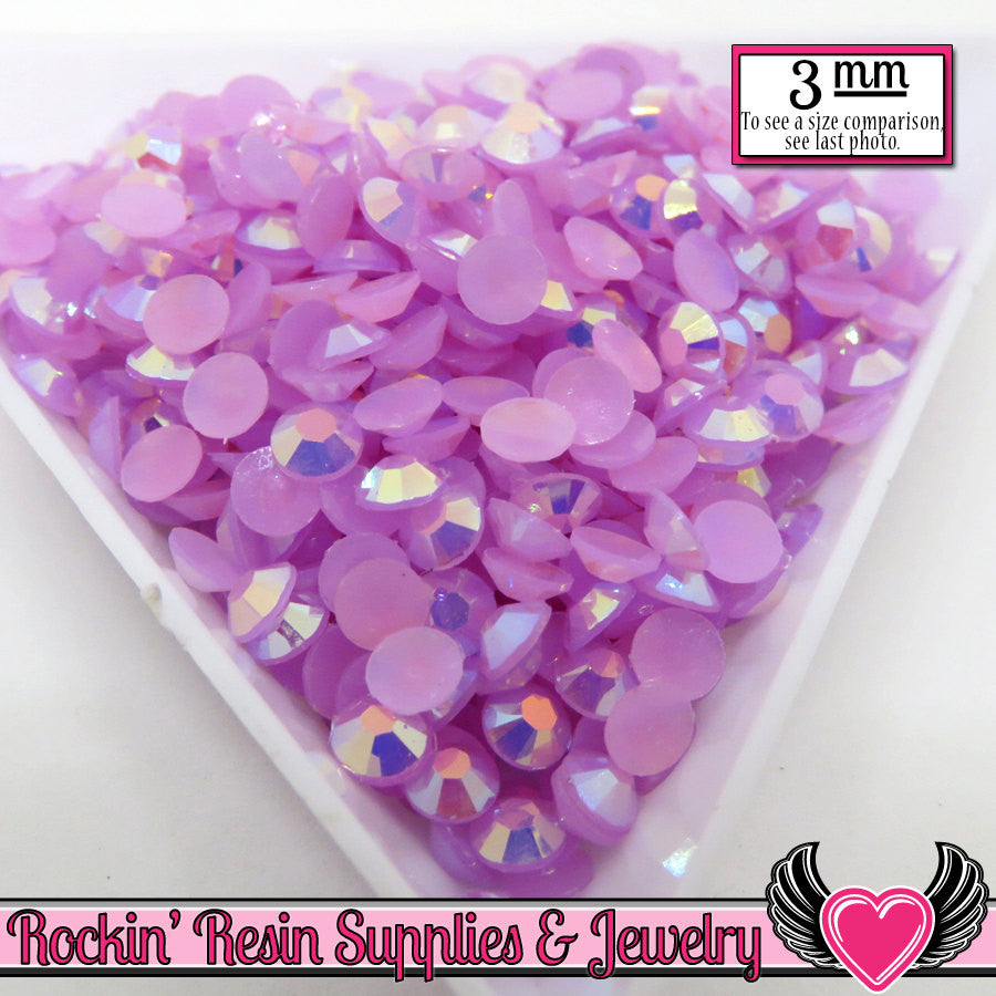 3mm 300 pcs AB Lavender Jelly RHINESTONES - Rockin Resin  - 1
