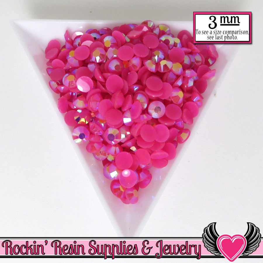 300 pcs 3mm AB HoT PINK RHINESTONES