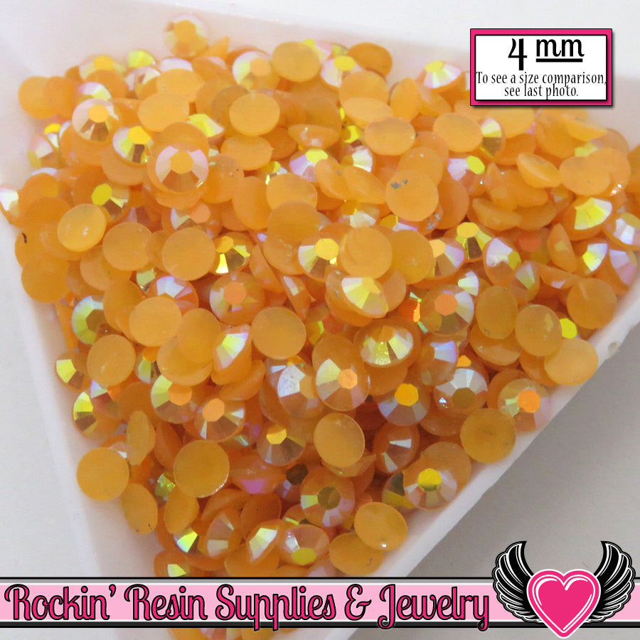 200 pcs 4mm AB Jelly Golden ORANGE Candy Rhinestones