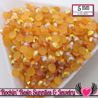 200 pcs 5mm AB Jelly Golden ORANGE Candy Rhinestones - Rockin Resin  - 1