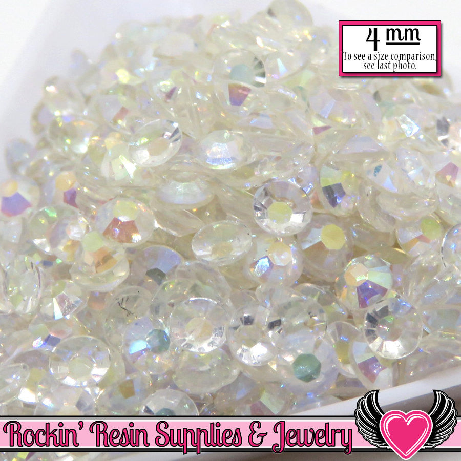 200 pcs 4mm AB CLEAR Flatback Rhinestones