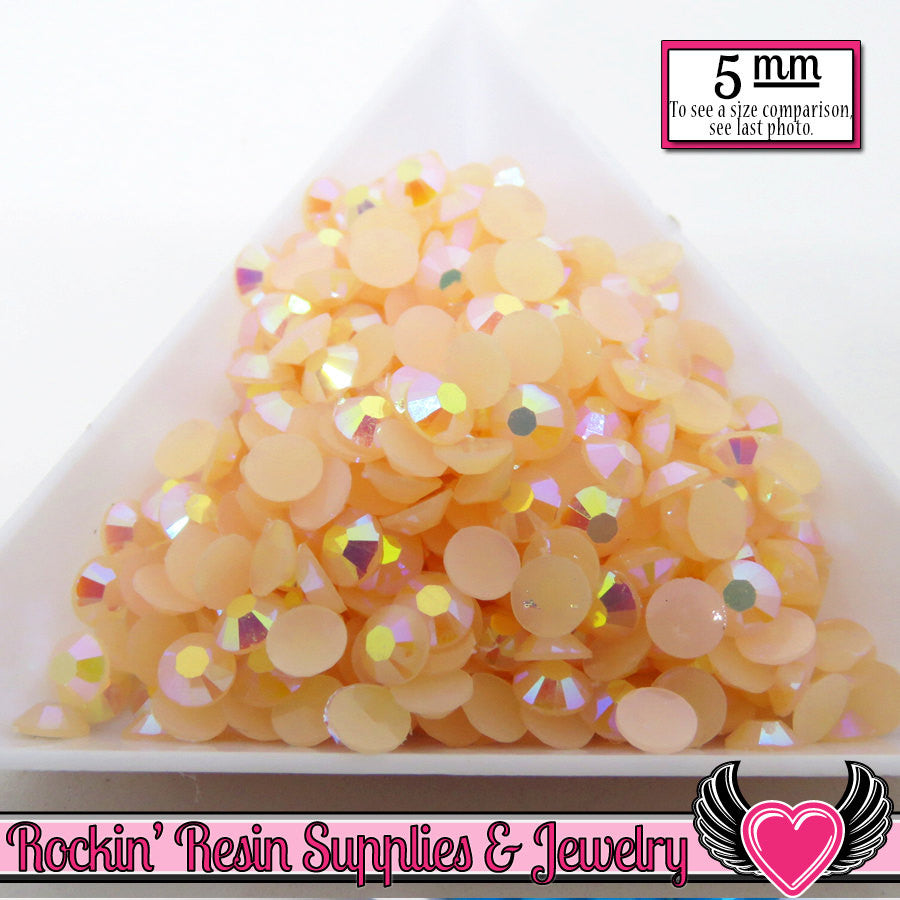 200 pcs 5mm AB PEACH Candy Jelly Rhinestones - Rockin Resin  - 1