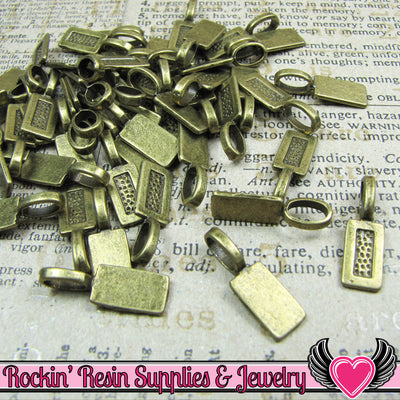 25 pcs Antique Bronze Tag GLUE ON BAILS Medium Size - Rockin Resin  - 1