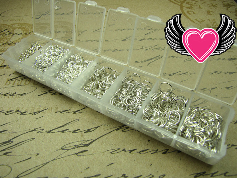 1500 pcs Silver Open Jump Rings Set with Case 3-8mm