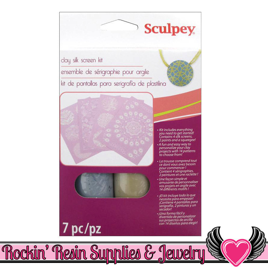 SCULPEY SILKSCREEN KIT for Polymer Clay - Rockin Resin  - 1