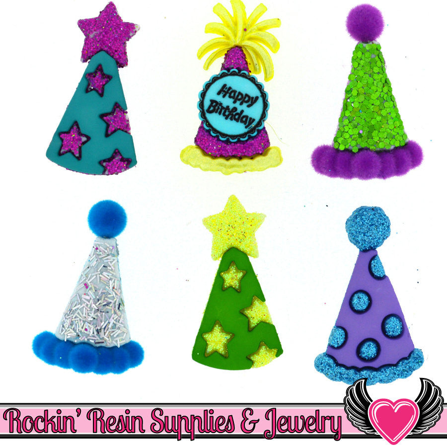 Jesse James Buttons 6 pc Birthday PARTY HATS Buttons OR Turn them Into Flatback Decoden Cabochons - Rockin Resin  - 1