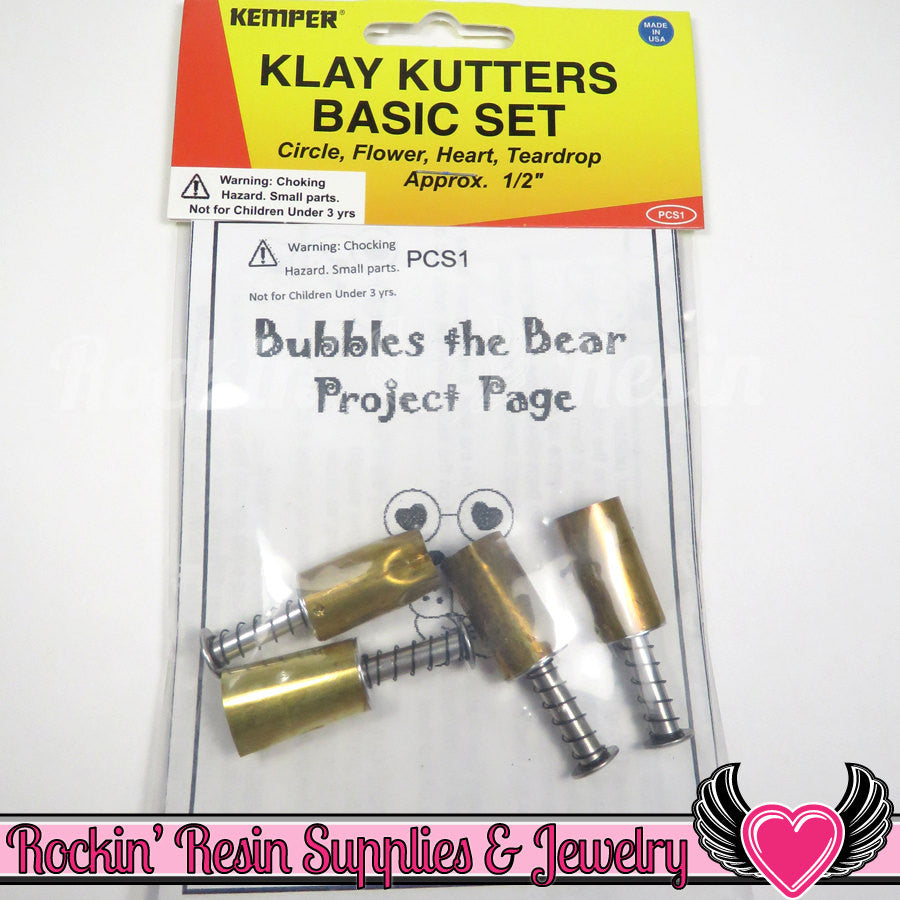 Kemper Klay Kutters 0.5 inch Cutter Set (heart, teardrop, flower & circle) PCS1