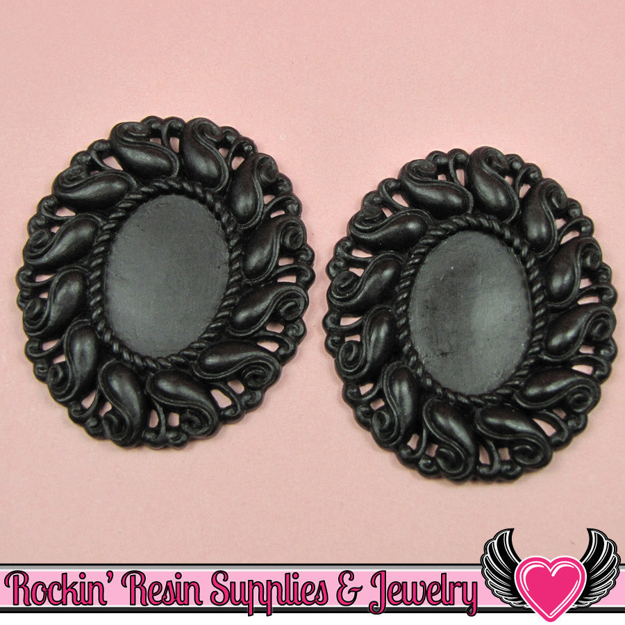 24x17mm Oval Cameo Cameo Settings Black (3 Pieces)