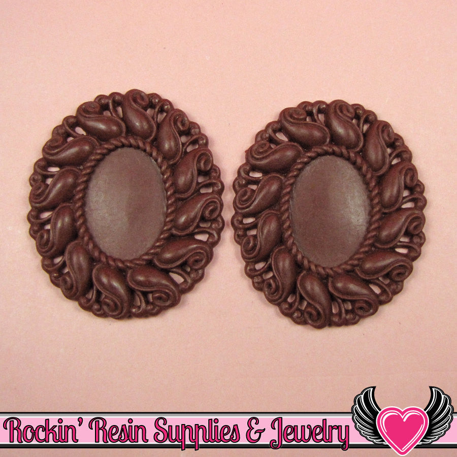 24x17mm Oval Cameo Cameo Settings Burgundy (3 Pieces)