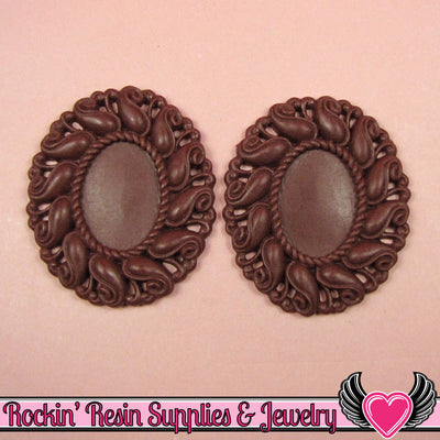 24x17mm Oval Cameo Cameo Settings Burgundy (3 Pieces) - Rockin Resin