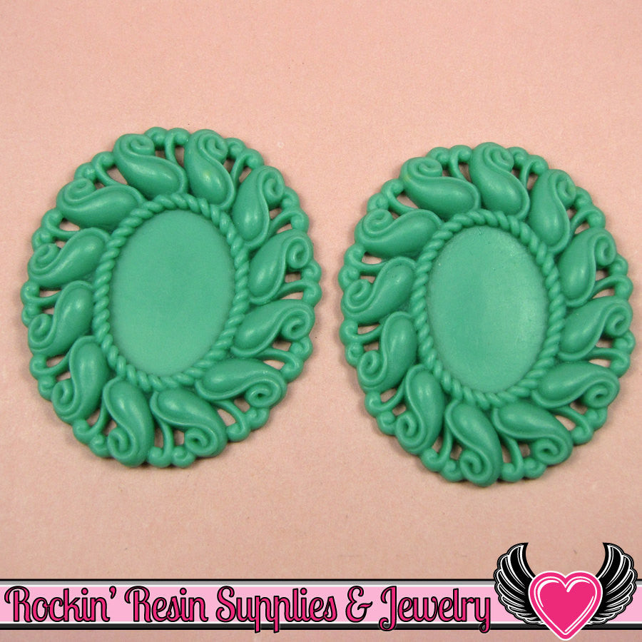 24x17mm Oval Cameo Cameo Settings Green (3 Pieces) - Rockin Resin