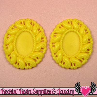 24x17mm Oval Cameo Cameo Settings Yellow (3 Pieces) - Rockin Resin