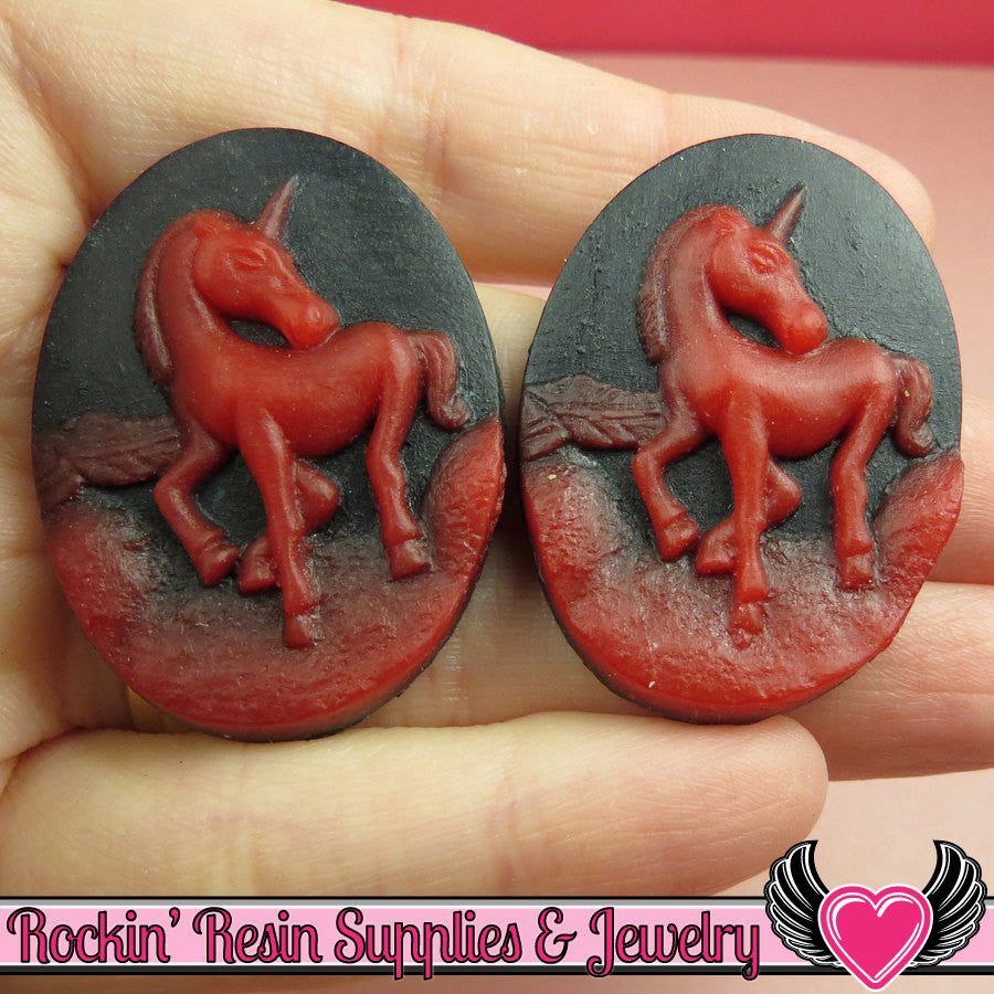 2 pc UNICORN Black and Red Resin Cameos 30x40mm