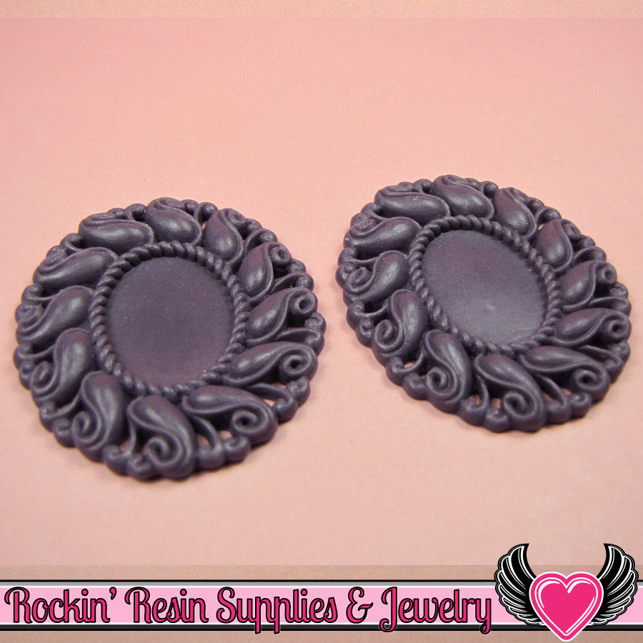 24x17mm Oval Cameo Cameo Settings Dark Purple (3 Pieces)