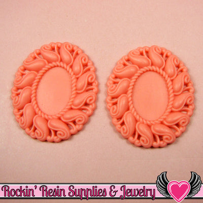 24x17mm Oval Cameo Cameo Settings Melon Pink (3 Pieces) - Rockin Resin