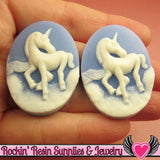 2 pc UNICORN Blue and White Resin Cameos 30x40mm - Rockin Resin