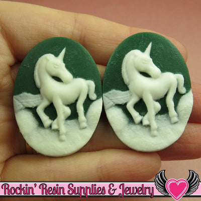 2 pc UNICORN Dark Green and White Resin Cameos 30x40mm - Rockin Resin