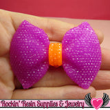 2 pcs Large FAUX RHINESTONE 2 Color Orange & Plum Purple BOWS 58x43mm - Rockin Resin