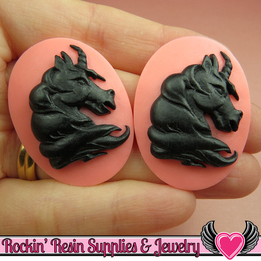 2 pc UNICORN Head Pink and Black Resin Cameos 30x40mm