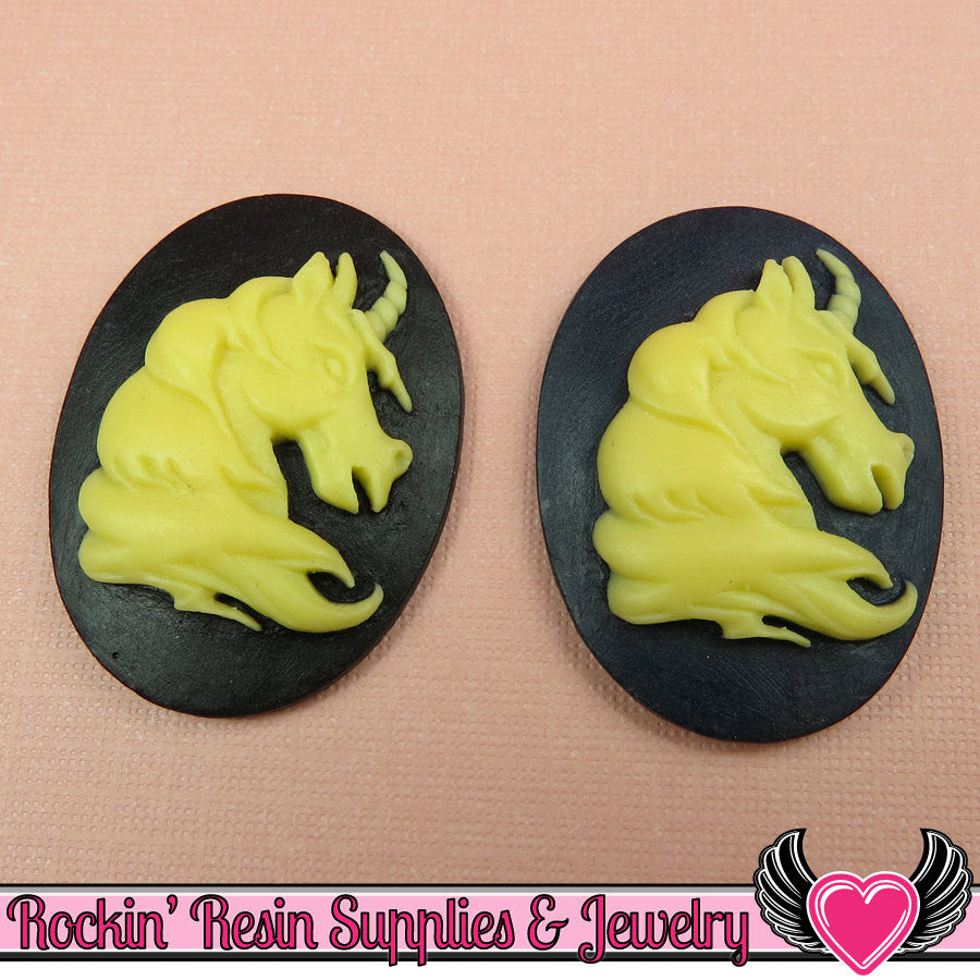 2 pc UNICORN Head Black and Ivory Resin Cameos 30x40mm