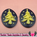 CHRISTMAS TREE Resin Cameos Navy Blue & Ivory 30x40mm Flatback Resin Cabochons (2 pieces) - Rockin Resin