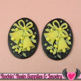 Black & Ivory CHRISTMAS BELLS Cameos 30x40mm Flatback Resin Cabochons (2 pieces) - Rockin Resin