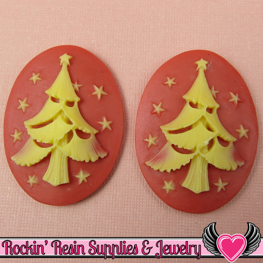 CHRISTMAS TREE Resin Cameos Red Orange & Ivory 30x40mm Flatback Resin Cabochons (2 pieces) - Rockin Resin