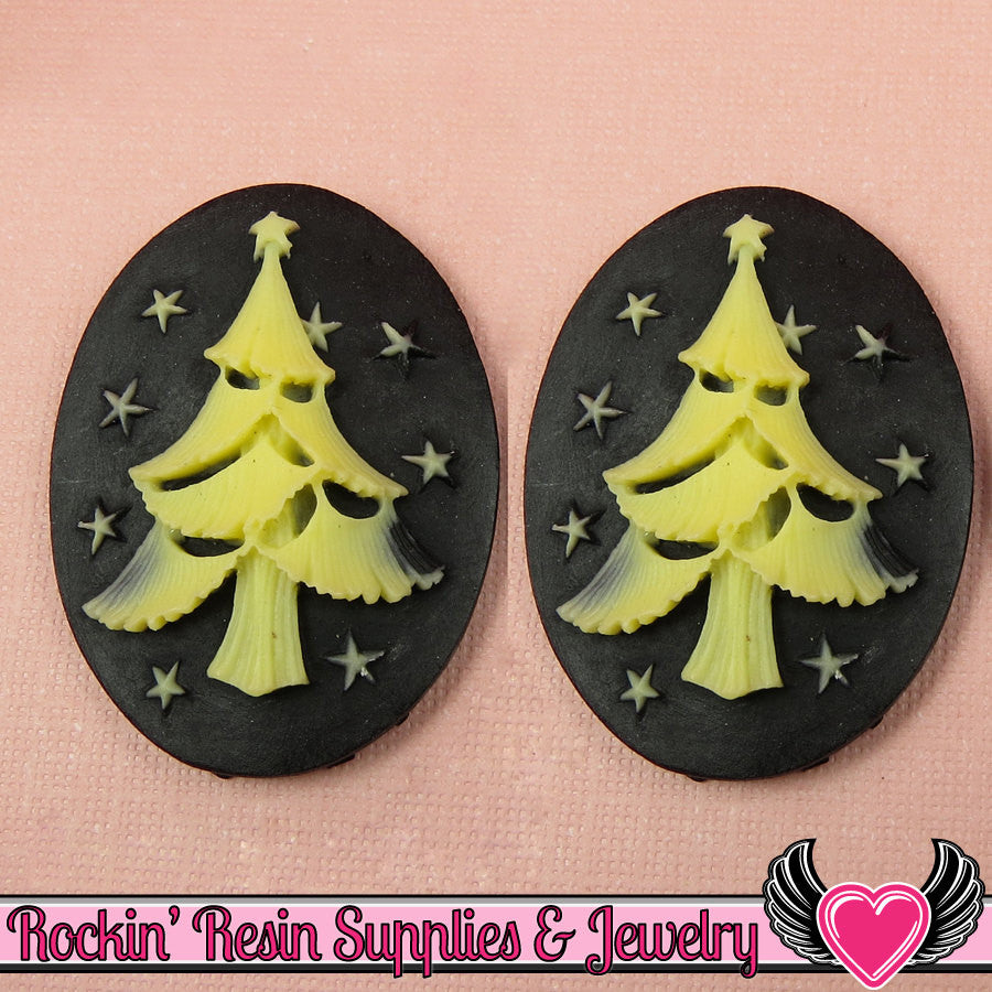 CHRISTMAS TREE Resin Cameos Black & Ivory 30x40mm Flatback Resin Cabochons (2 pieces)