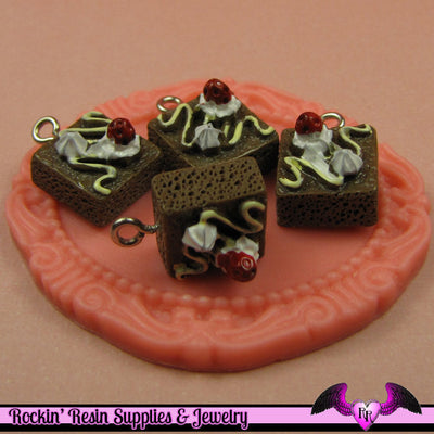 BROWNIE with Whipped Cream Charm Cabochons(5 pieces) - Rockin Resin