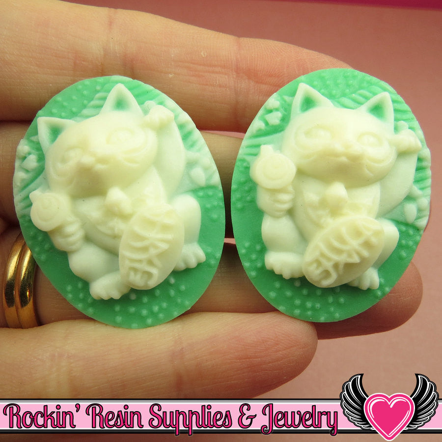 Lucky Cat Cameos in Seafoam Green and White 30x40mm Flatback Resin Cabochons (2 pieces)