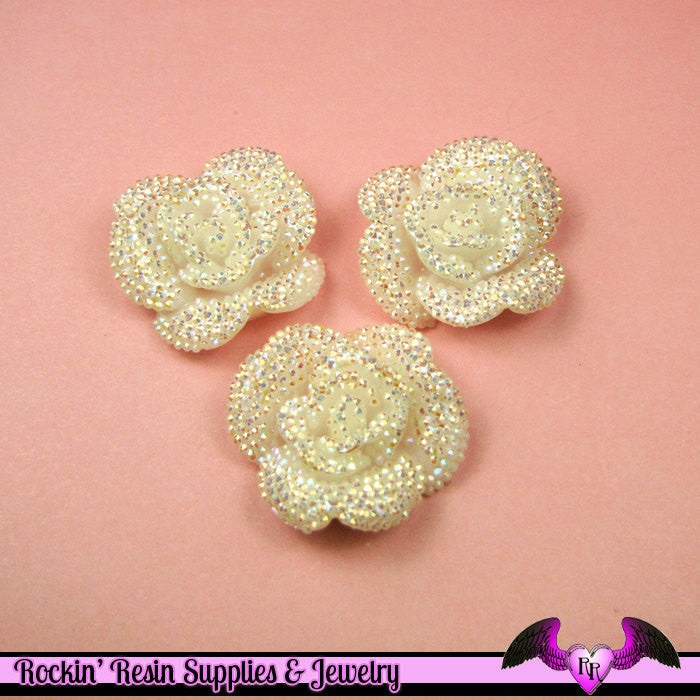 3 pcs Faux RHINESTONE AB Ivory White 34mm Resin Flower Cabochons