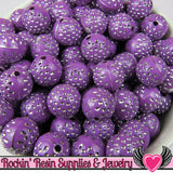 25 PURPLE and SILVER Dot Beads 12mm Silver Polka Dot Beads - Rockin Resin  - 2