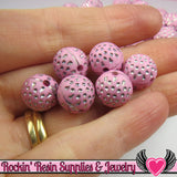 25 PINK and SILVER Dot Beads 12mm Silver Polka Dot Beads - Rockin Resin  - 2