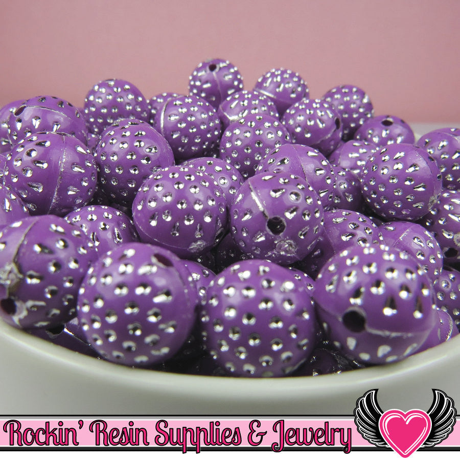 25 PURPLE and SILVER Dot Beads 12mm Silver Polka Dot Beads