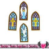 Jesse James Buttons 4 pc STAINED GLASS Windows Buttons - Rockin Resin  - 1