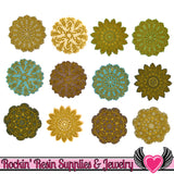 Jesse James Buttons 12 pc ANTIQUE LACE Doily Buttons - Rockin Resin  - 1