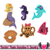 Jesse James Buttons 6 pc Under The Sea Mermaid Buttons - Rockin Resin  - 1