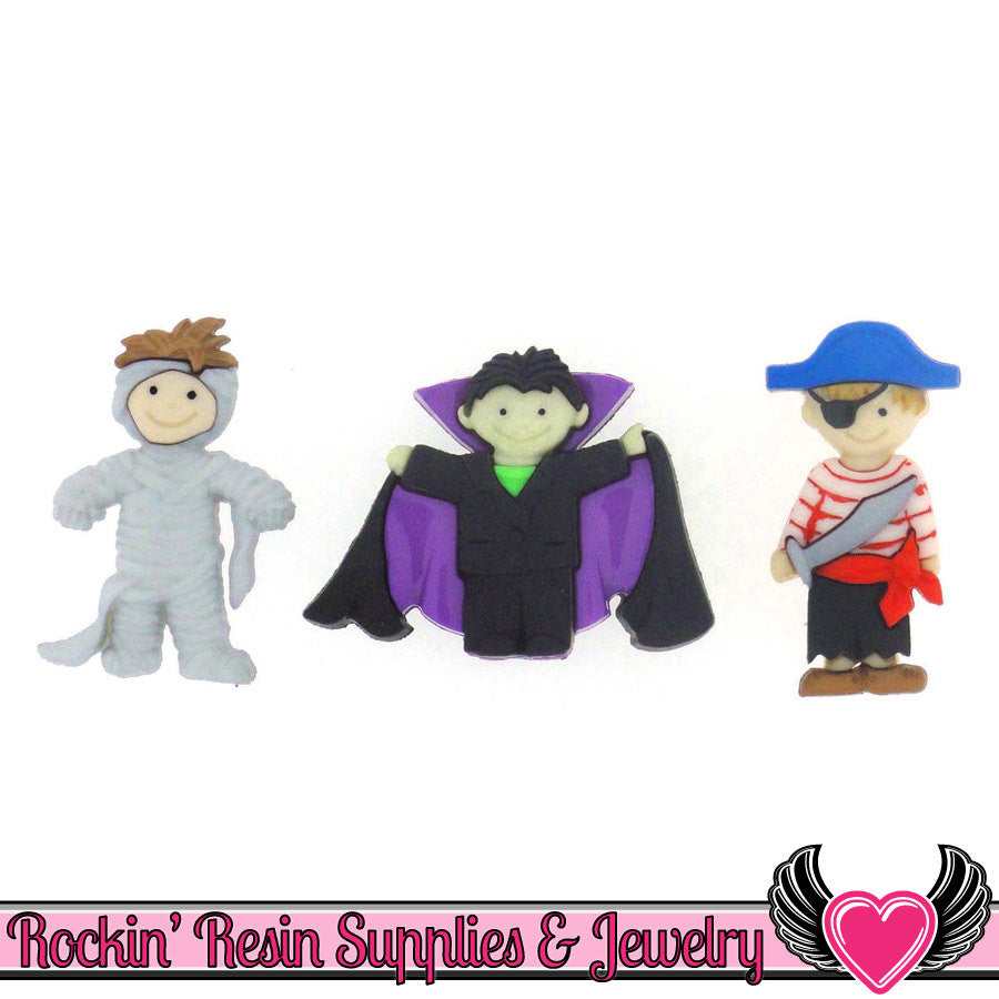 Jesse James Buttons 3 pc HALLOWEEN Mummy, Vampire, and Pirate Boy Kids Buttons