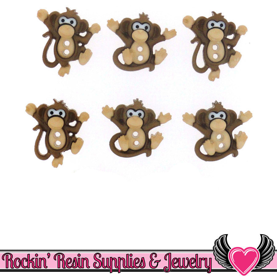 Jesse James Buttons 6 pc Sew Cute Monkeys Dress It Up 2 hole buttons