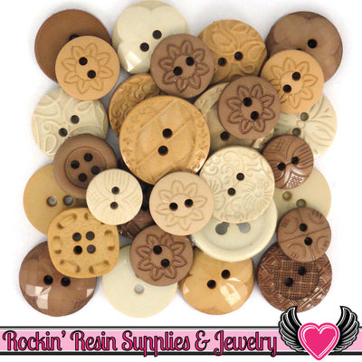 Jesse James Dress It Up NATURAL Kraft Brown Tan Buttons Mix - Rockin Resin