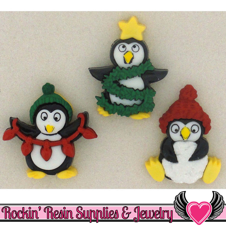 Jesse James Buttons 3pc Christmas Penguins Buttons - Rockin Resin  - 1