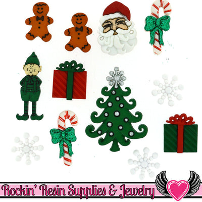 Jesse James Buttons 12pc CHRISTMAS Buttons - Rockin Resin  - 1