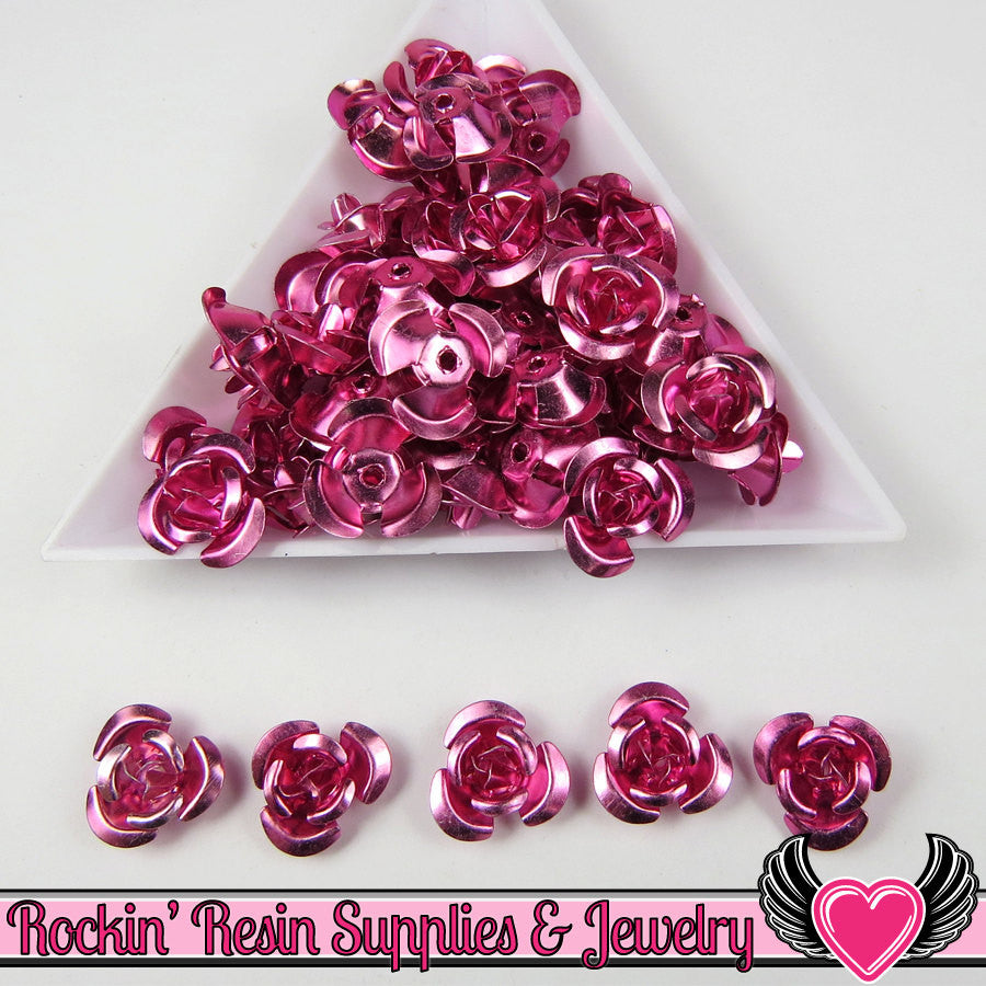 50 pc ALUMINUM ROSE BEADS 12mm Violet Pink Aluminum Flowers