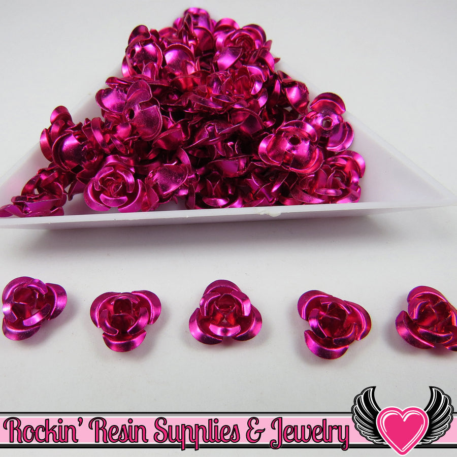 50 pc ALUMINUM ROSE BEADS 10mm Fuchsia Pink Aluminum Flowers - Rockin Resin