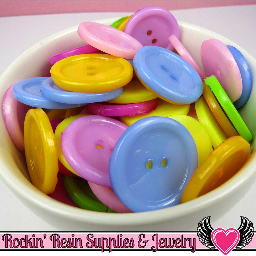 24mm Round 2 hole Colorful Large Acrylic Buttons ( 25 pieces )