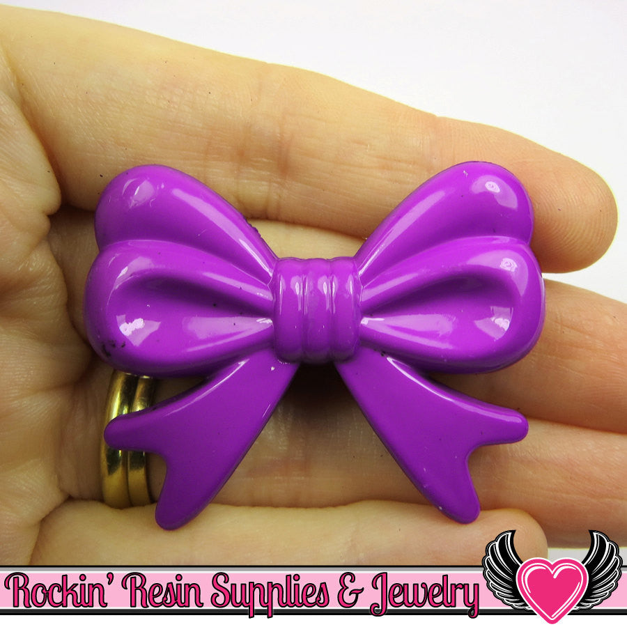 46mm LARGE BOW BEADS Purple (4 pieces)