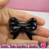 46mm LARGE BOW BEADS Black (4 pieces) - Rockin Resin  - 2