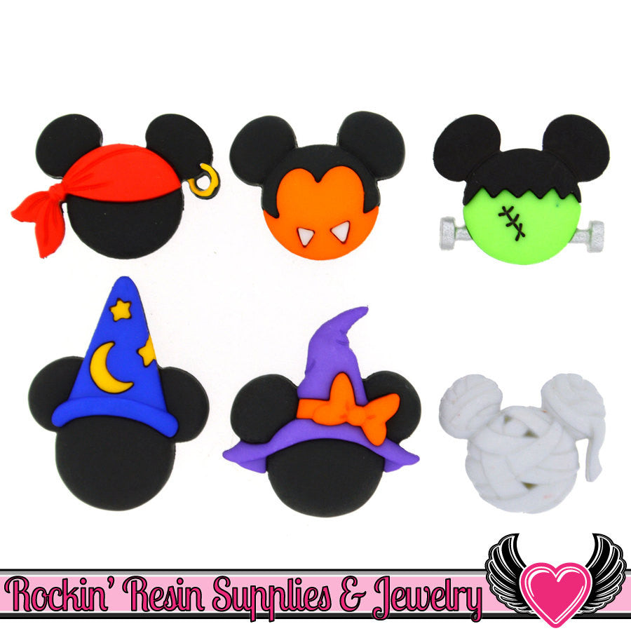Disney Minnie & Mickey Mouse Halloween Hats Licensed Buttons