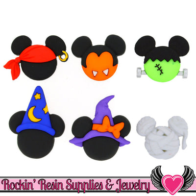 Disney Minnie & Mickey Mouse Halloween Hats Licensed Buttons - Rockin Resin  - 1