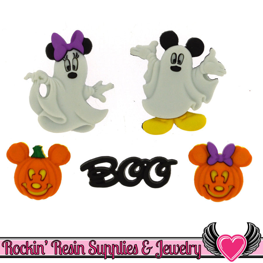 Disney Minnie & Mickey Mouse Halloween Ghosts and Pumpkins Licensed Buttons